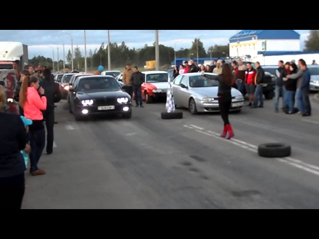 Alfa Romeo 156, 2, 0TS vs BMW 730d E38, 3.0D/drag race/acceleration