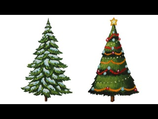 Уроки рисования. Как нарисовать елку. Ёлочка поэтапно - How to draw Christmas Tree with Presents