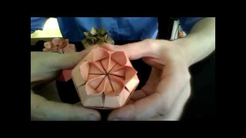 Folding a Six petal flower Gift box (full video)
