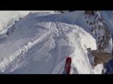 Опасный спуск на соревнованиях по горным лыжам!