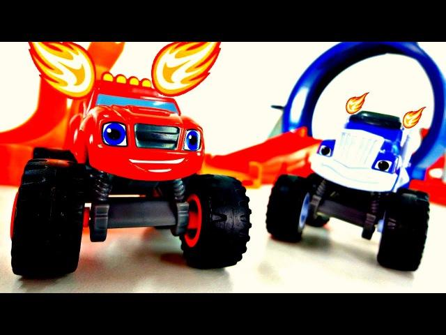 Vidéo de voitures de course Blaze Crucher MonsterMachines en français pour enfants NOUVELLE COURSE