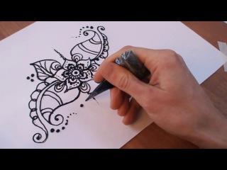 МЕХЕНДИ: рисуем красивый ЦВЕТОЧНЫЙ УЗОР. Как рисовать мехенди?