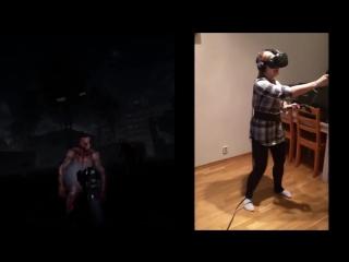 Что бывает когда девушка играет в хоррор-игру в шлеме виртуальной реальности