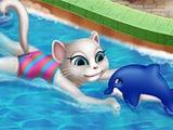 Игра Анжела в Бассейне !!! Говорящая Анжела принимает ванну !!! ОНЛАЙ Игры для Детей !!!