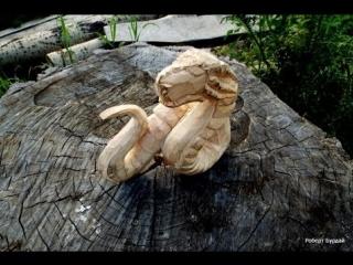 Скульптура дракон - змей. Резьба по дереву,урок. Часть 1 Wood carving