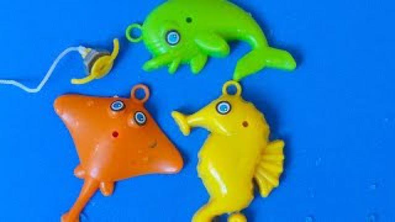 Toy Animals: 3 animais marinhos golfinho cavalo marinho arraia pescaria