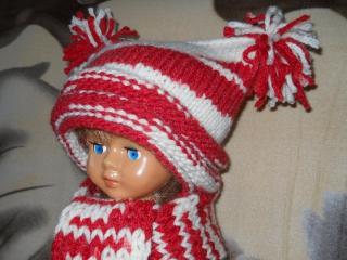 Комплект Красно-белый - вязание шапки спицами - Cap knitting