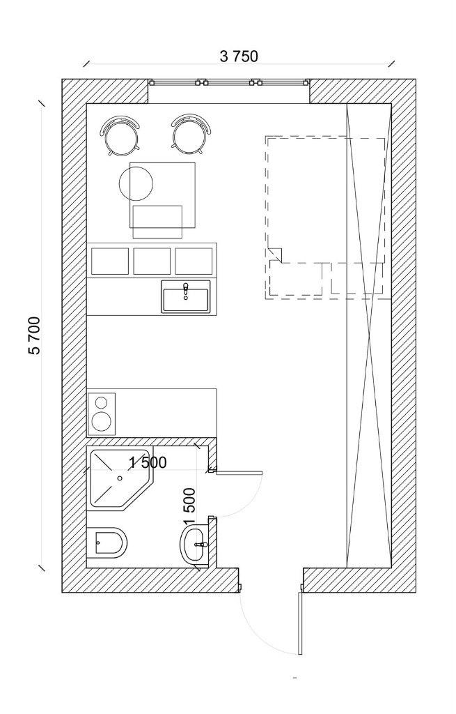 Концепт маленькой квартиры-студии 21 м с откидной кроватью.