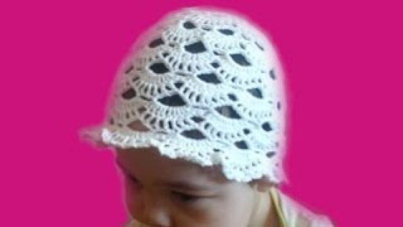 Летняя ажурная шапочка-шляпка с узором Веера крючком на 1,5-2 года