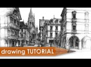 Drawing tutorial street architecture in perspective