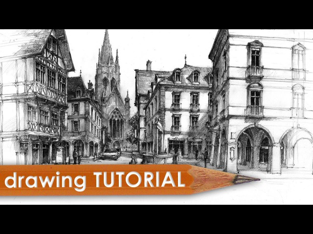 Drawing tutorial - street architecture in perspective