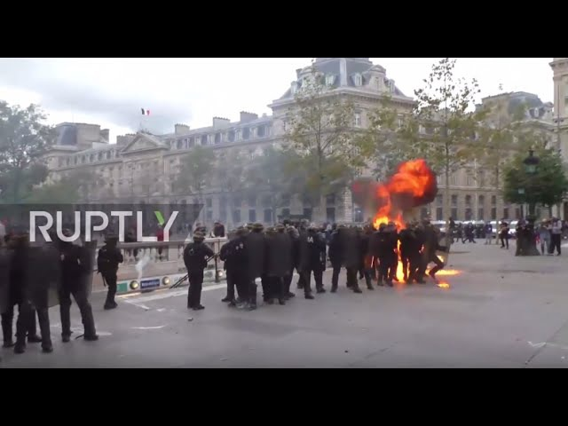 France Molotov cocktails fly as fiery protests rock Paris