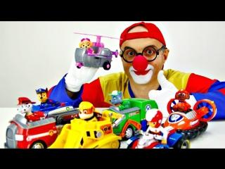 Видео для детей. Клоун Дима принимает парад Щенячего патруля. Игры с машинками