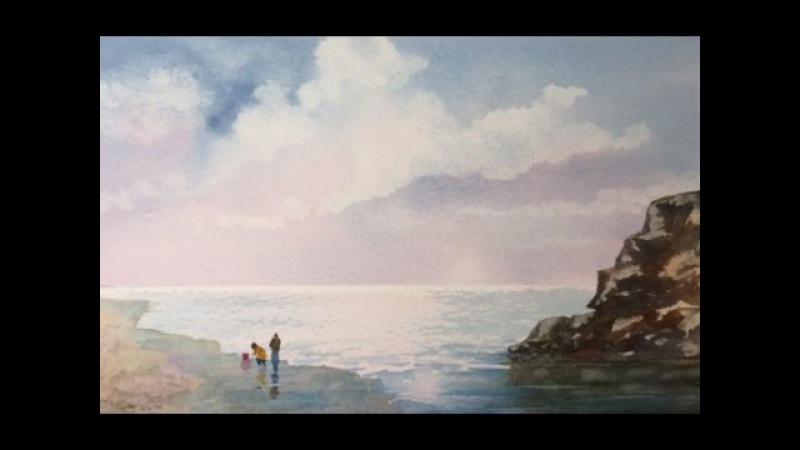 Облачное небо легко и простой морской пейзаж Cloudy Seascape