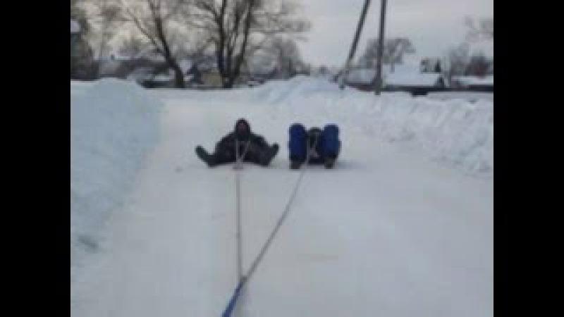 Экстрим зимой 4. Трос за машину и держимся за него. Вас собака загрызет за ж Фак ю Спилберг