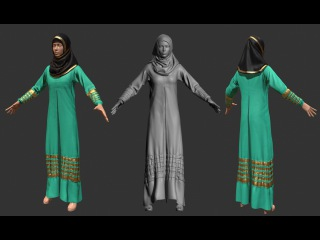 3D Female Muslim Dress with Zbrush + Marvelous Designer (Time Lapse)