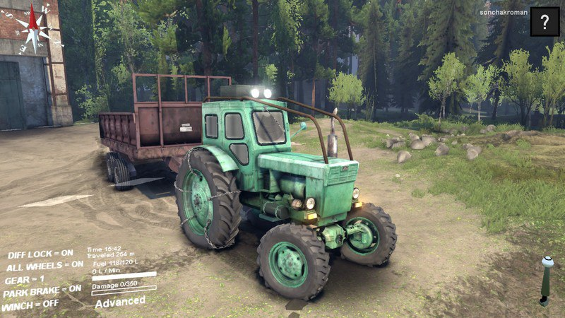 """Мод """"Трактор Т-40АМ и Прицеп v1.0"""" для Spin Tires 2014"""