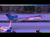 FSX RA-85814 Визуальный заход и динамическое торможение Домодедово 32L
