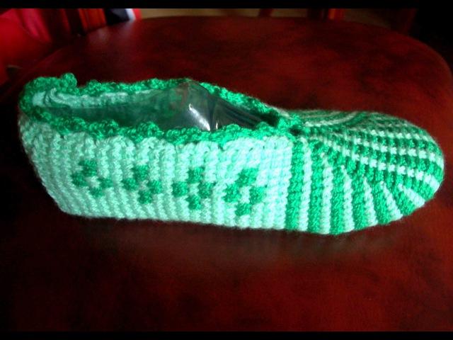 Тапочки крючком. Вязание тапочек крючком. Тунисское вязание. Ч. 2 (Tunisian crochet slippers. P. 2)