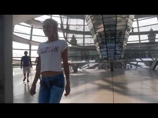 HDBERLINDESIGN.de present sexy Model with no pants walk trough Berlin Reichstag naked girl