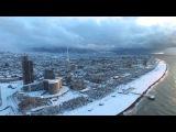 Fly over snowy Batumi