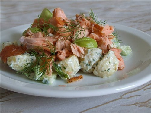 Салат с рыбой и грибами рецепт
