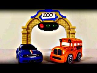 Voitures Speedy et Bussy dans le ZOO. Dessin animé dessinanimé éducatif. ANIMAUX SAUVAGES