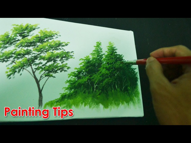Acrylic Painting Lesson - How to Paint Tree Leaves by JMLisondra