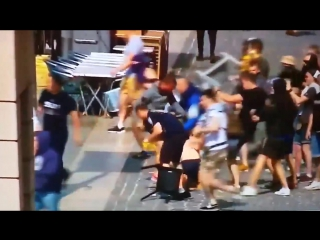 Street fighting in Marseille. Russian and British hooligans