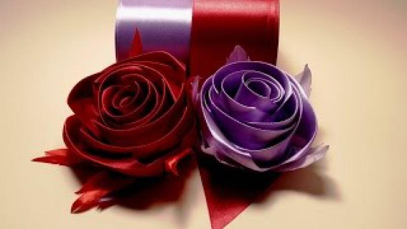 Ribbon flowers how to make rose from satin ribbon tutorial Цветы из лент роза из атласной ленты МК