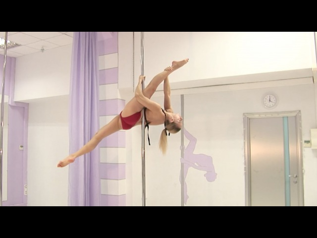 Pole dance с Анной Елисеевой продолжающие 40. Переход из Аллегры в Супермена.