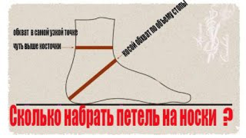 ВЯЗАНИЕ СПИЦАМИ 🌺 Сколько набрать петель на носки вязать носок