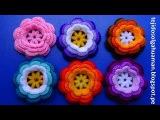 Flor tejido a crochet en la combinacion de los rosados