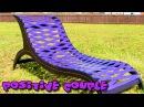 Garden lounger of plastic barrels. Садовый шезлонг из бочки.