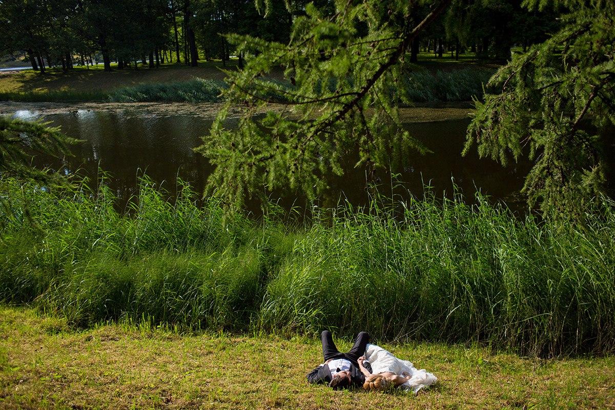 жених и невеста на зеленой лужайке