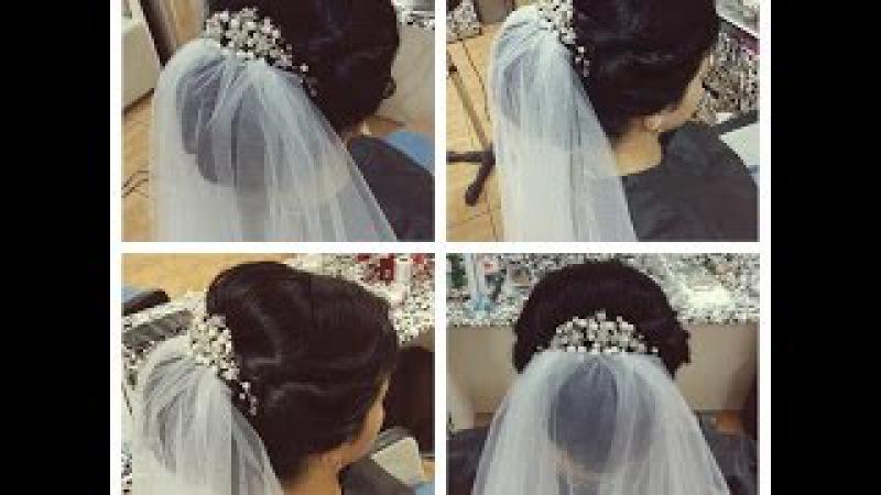 Свадебная прическа на средние и длинные волосы.Прическа на выпускной. Wedding and prom h...
