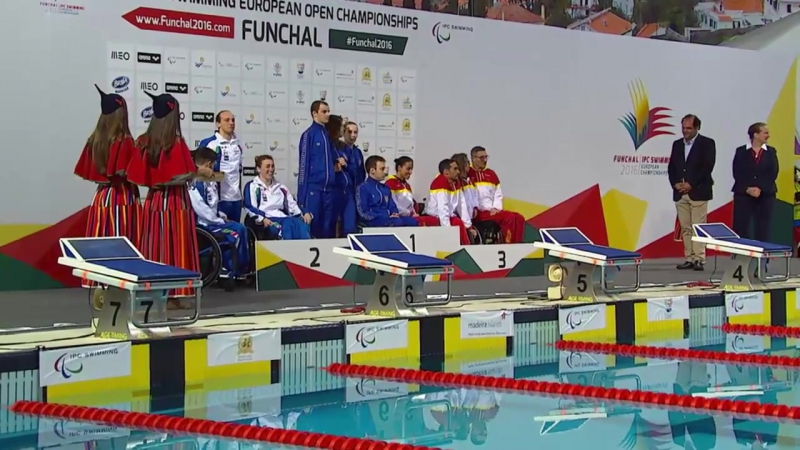 Mixed 4x50m Medley Relay 20pts Medals Ceremony 2016 IPC Swimming European Open Championships Funchal