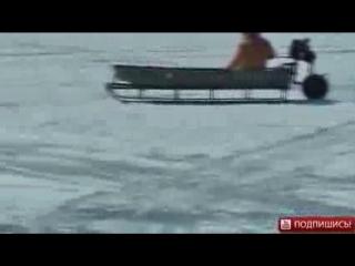 Самодельная лодка которая ездит по льду с диском от пилы
