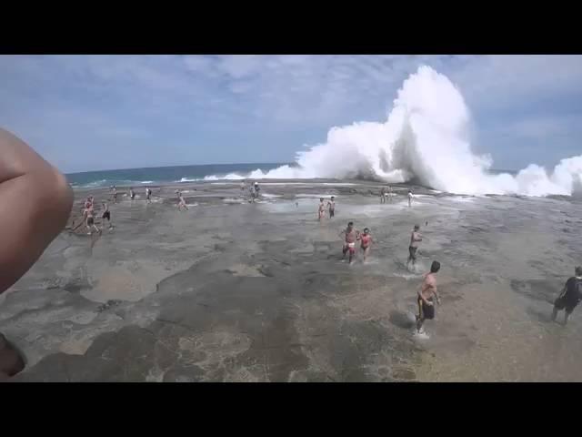 Внезапная 8 метровая волна накрыла пляж Сиднея