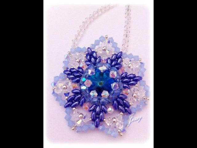 Ciondolo fiore swarovski e superduo Non ti scordar di me flower pendant