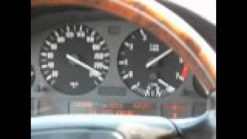 BMW E38 750i 12 цилиндров разгон 0-250 km-h вид из салона