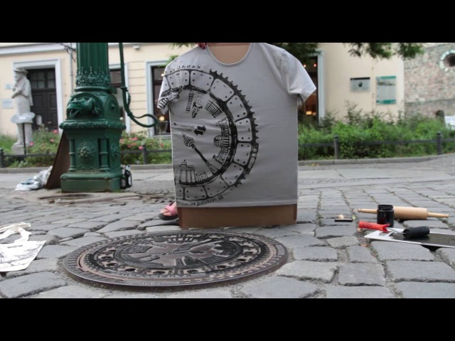 Printing T Shirts with a Manhole Cover Berlin