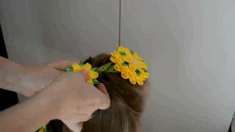 Как вплести ленту канзаши в косу