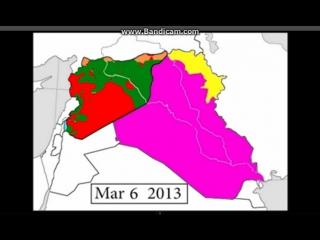 Видео карта того как изменялась граница в Сирии и Ираке с 2011