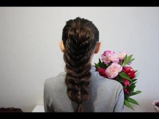 Хвост из объемной косы/ Коса из хвостиков/ Pull through ponytail braid