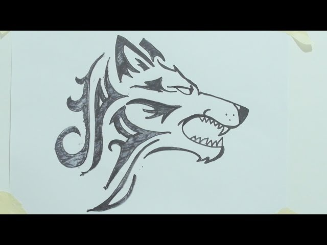 How to draw a tribal wolf head tattoo رسم ذئب 1