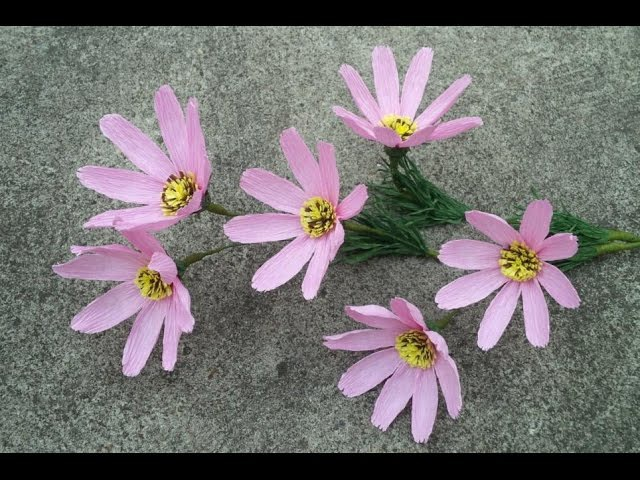 How To Make Cosmos Flower From Crepe Paper - Craft Tutorial