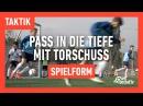 Fussballtraining Pass in die Tiefe mit Torschuss Spielform Taktik