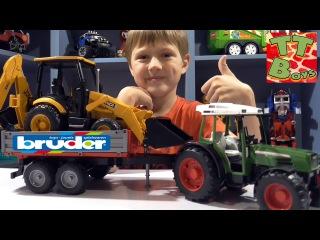 BRUDER TOYS. Video for children. Tractor Trailer & Excavator Loader - unboxing toys trucks