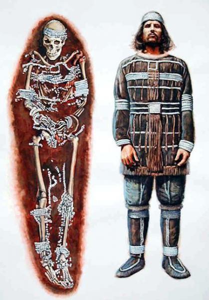 Реконструкция одежды и облика мужчины их захоронения Сунгирь